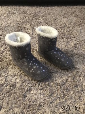 LIKE NEW‼️ TODDLER BABY GIRL GRAY / SILVER WINTER BOOTS - SIZE 10 for Sale in Houston, TX