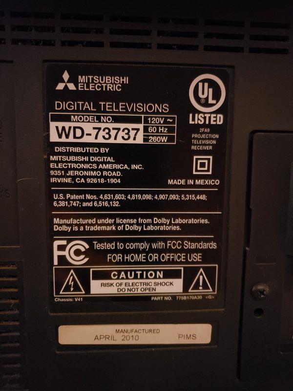"""73"""" Mitsubishi TV model: WD-73737"""