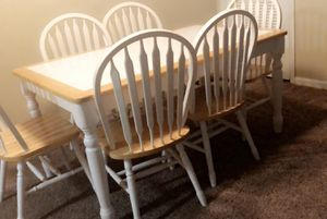 6seat - White tile wooden table dining set for Sale in Columbia, SC