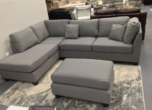 Brand New Grey Linen Sectional Sofa Couch + Ottoman for Sale in Fairfax, VA