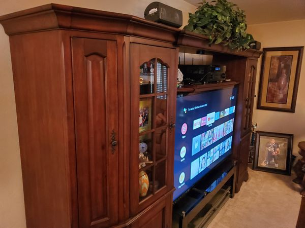 """Entertainment Center TV stand and Vizio 70"""" smart TV for sale, excellent condition, trade for motorcycle?"""