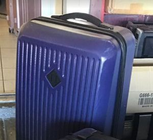 Harchel supply. Co large check in blue trade luggage used slightly excellent condition mint clean inside zipper and wheels great shape for Sale in Las Vegas, NV