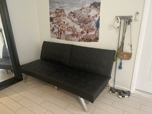Black Faux Leather Futon Sofa for Sale in Fort Lauderdale, FL