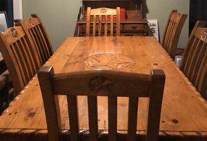 Star detailed dining table w/6 chairs (solid wood) for Sale in Georgetown, TX