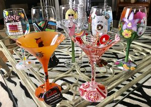 COLLECTION 7 LOLITA HAND PAINTED MARTINI WINE BEER GLASSES for Sale in Mount Lebanon, PA