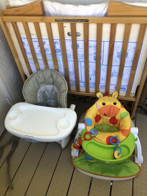 Baby kids stuff crib , high chair and sitting chair , 50$ for all for Sale in San Diego, CA