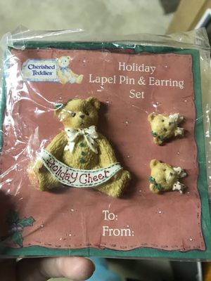 1996 holiday cherished teddies pin/earrings set for Sale in Evesham Township, NJ