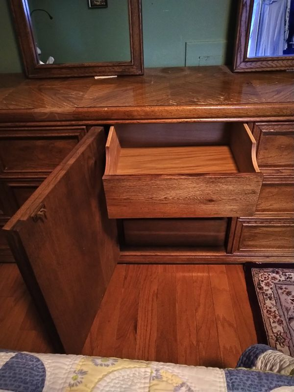 Antique 9 Drawer Dresser with 2 Mirrors