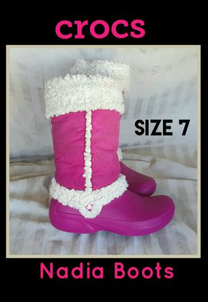 CROCS Nadia Rain Snow Fleece Lined Boots; Size 7 for Sale in Lake Placid, FL