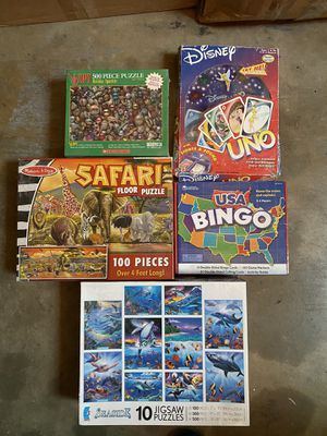 Lot Puzzles bingo and uno couple are new all there great activities for Sale in La Mesa, CA