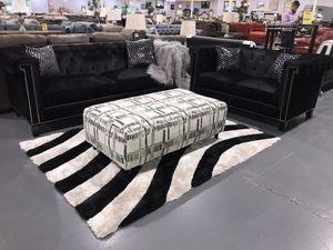 VELVET TUFTED BLACK SOFA + LOVESEAT!!! BRAND NEW!! ONLY $99 DOWN!! for Sale in Tampa, FL