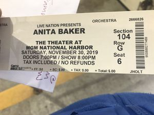 Anita Baker 2 tickets for Sale!!! for Sale in Vienna, VA