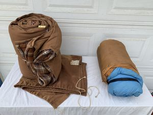 Vintage canvas and down sleeping bags from late 50's and mid 60's for camping or hiking for Sale in Carlsbad, CA