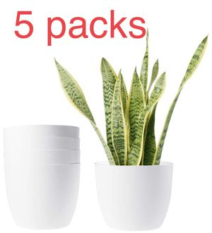 Brand new 5 packs Plastic Planters Modern Decorative Indoor Outdoor Flower Plant Pots with Drainage for All House Plants, Mint, Herbs, Peace Lily, Af for Sale in Diamond Bar, CA