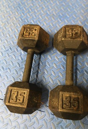 Steel hex 35lb. Dumbbells for Sale in Valley Center, CA