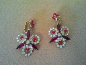 Ruby Red Rhinestone Earrings for Sale in Cleveland, OH