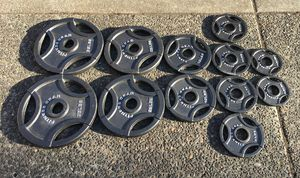 "Fitness Gear Olympic Weights 165lbs Total Workout Set 2"" Diameter Grip Handle Plates for Sale in Happy Valley, OR"