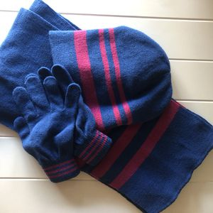 Blue and pink scarf, hat and gloves for Sale in Boca Raton, FL