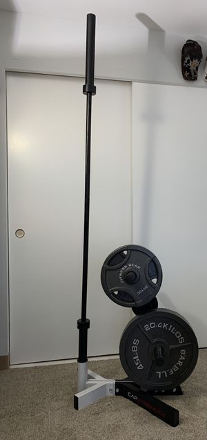 Barbell Weight Set with Rack, Free Weights, & Barbell for Sale in Chicago, IL