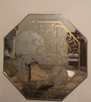 Full Wall mirror...stained glass w gold in octagon gold frame. Good condition for Sale in Norcross, GA