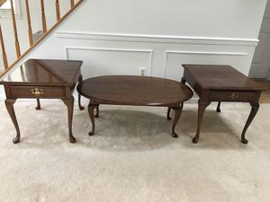 3 piece solid wood coffee table set Queen Anne style from Pennsylvania House for Sale in Reston, VA