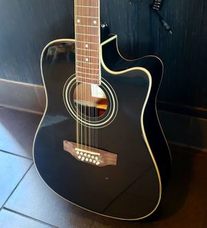 Requinto New Black 12 String Acoustic Electric Guitar Combo with Gig Bag & Accessories Guitarra Electrica Acústica Docerola 12 Cuerdas for Sale in Lynwood, CA