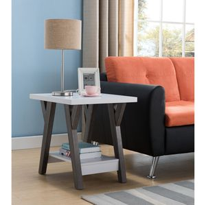 End Table, White and Distressed Grey, SKU# ID161834ETTC for Sale in Norwalk, CA