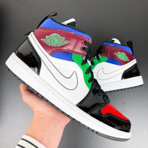 Women Nike Air Jordan 1 Retro Mid Black White Patent Shoes 7 7.5 8 8.5 9 9.5 for Sale in Huntington Beach, CA