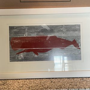 Red Whale Print, White Frame, Wood Background for Sale in Frisco, TX