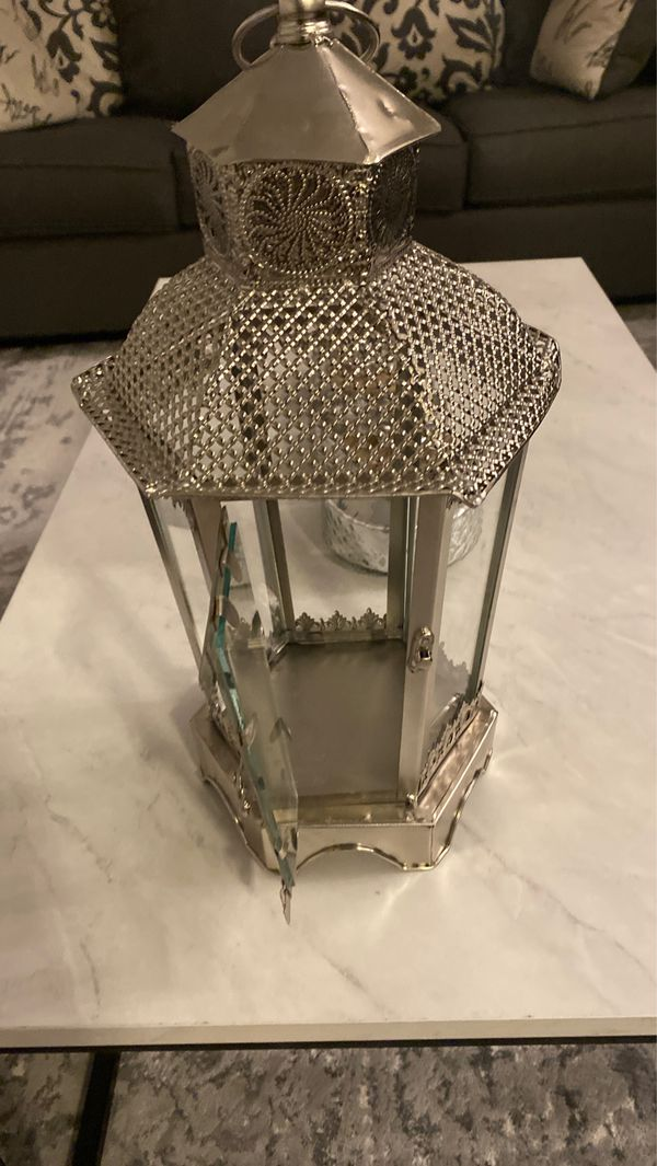Antique candle holder glass and silver metal - *new*