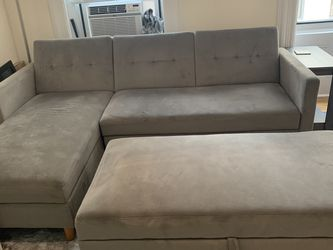 Grey Storage Couch With Ottoman for Sale in New York,  NY