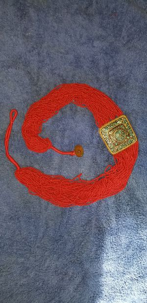 Vintage 1936 India Turquoise, Red Coral Seed Bead, Brass Belt for Sale in Victoria, VA