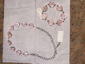 Light pink Swarovski crystal bracelet necklace set for Sale in Brooklyn, NY