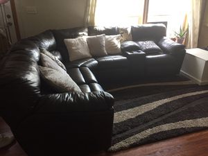 Leather chocolate sectional recliner for Sale in Severn, MD