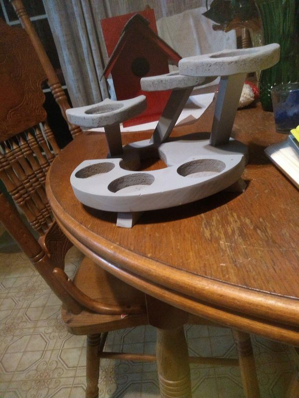 Homemade wooden candle holders