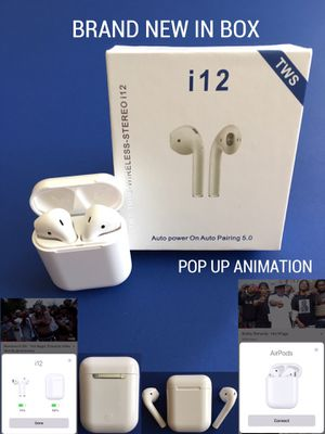 i12 AIR PODS, EARPHONES, EARBUDS (BRAND NEW IN BOX) COMPATIBLE WITH iPHONE AND ANDROID for Sale in Lewisville, TX