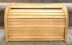 Vintage Mid Century Modern MCM Wood Bread Box Roll Up Door Kitchen Decor Storage 16 Inch Wide M Kamenstein Thailand for Sale in Chapel Hill, NC