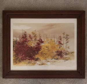 Autumn Hike Print by John Allen Stock 1986 with Wide Dark Wood Frame under Glass. 32 inches wide by 26 inches tall. for Sale in Raleigh, NC