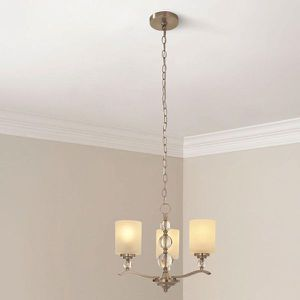 Hampton Bay Laurel Hill 3-Light Brushed Nickel Chandelier with Opal Glass Shades and Glass Ball Accents NEW for Sale in Plantation, FL