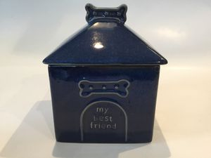 Dog House Treat Cannister Blue Glazed Ceramic for Sale in Horseshoe Beach, FL