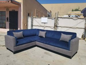NEW 7X9FT BARCELONA NAVY FABRIC COMBO SECTIONAL COUCHES for Sale in San Clemente, CA