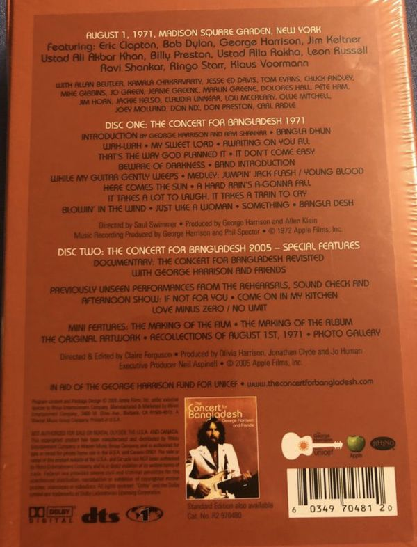 GEORGE HARRISON CONCERT FOR BANGLADESH LIMITED NUMBERED DVD BOX DELUXE SET NEW! SEALED!