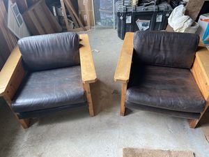 Oversized ranch style/modern industrial pair of chairs for Sale in Cashmere, WA