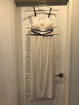 Long white black braided maxi dress Greek Roman style size medium for Sale in Tempe, AZ