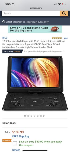 Portable dvd player 16 inch screen lcd car display 6 hr battery for Sale in Indianapolis, IN