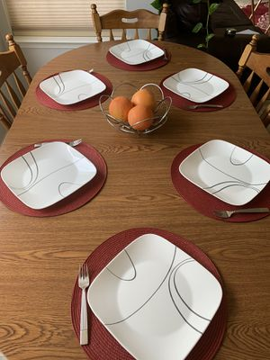 Vintage Adjustable Wooden Table w/ 6 Chairs for Sale in Elkton, MD