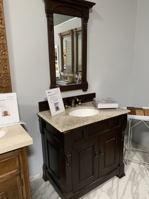 "36"" James Martin Brookfield Espresso with Tan Brown Granite Top Single Sink Bathroom Vanity Cabinet with Mirror for Sale in Fairfax, VA"