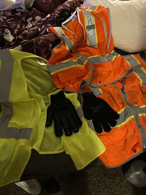 3 safety work vests and refrig wear insulated work gloves for Sale in Norman, OK