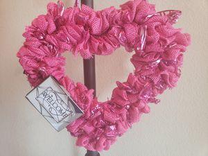 Pink Welcome Sign Door Wreath for Sale in Haslet, TX