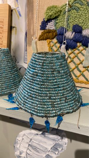 Glass bead lampshades aqua glass fish coastal cottage beach decor for Sale in West Palm Beach, FL